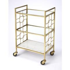 Butler Arcadia Polished Gold Bar Cart