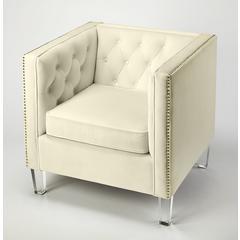 Butler Janelle White Velvet Accent Chair