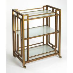 Butler Juilliard Gold Metal Bar Cart