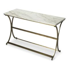 Pamina Travertine Console Table, Antique Gold