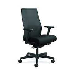 Ignition ilira-Stretch Mesh Back Task Chair | Advanced Synchro-Tilt Control | Height- and Width-Adjustable Arms | Adjustable Lumbar Support | Hard Casters | Black ilira-Stretch Mesh Back | Black S