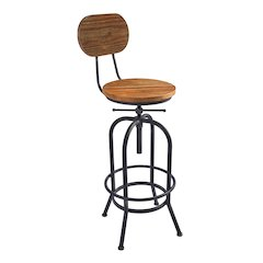 Adele Industrial Adjustable Barstool in Silver Brushed Gray with Rustic Pine Wood Seat and Back