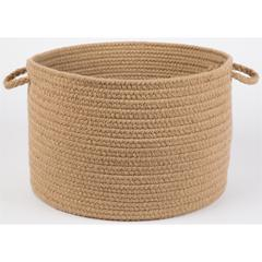"Solid Taupe Wool 18"" x 12"" Basket"