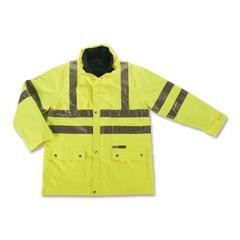 Ergodyne GloWear 8385 Class 3 4-in-1 Jacket - Extra Extra Large - 1 Each - Lime