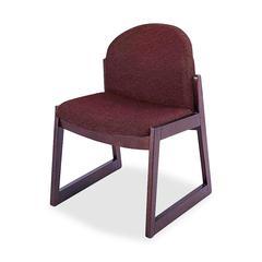 Safco Urbane Armless Guest Chair - Polyester Burgundy, Olefin Seat - Wood Medium Oak Frame