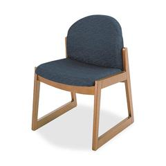 Urbane Armless Guest Chair - Polyester Fabric, Olefin - Fabric Black Seat - Wood Medium Oak Frame