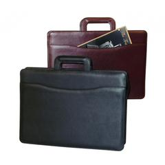 Sleek Executive Fine Leather Briefcase In Boredeaux