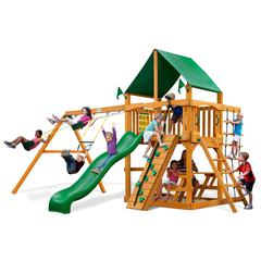 Chateau Swing Set w/ Amber Posts and Deluxe Green Vinyl Canopy