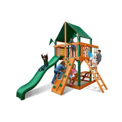 Gorilla Playsets Chateau Tower Swing Set w/ Timber Shield and Sunbrella Canvas Forest Green Canopy