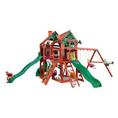 Five Star II Deluxe Wooden Swing Set with 3 Slides, Punching Ball, and Chalkboard Kit