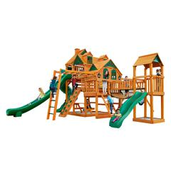 Empire Extreme Wooden Swing Set with Monkey Bars, Clatter Bridge and Tower, and 3 Slides
