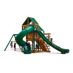Great Skye II Swing Set w/ Timber Shield and Sunbrella Canvas Forest Green Canopy