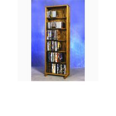 Wood Shed Solid Oak 6 Row Dowel DVD Cabinet Tower
