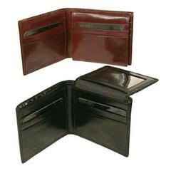 Hand Stained Italian Leather, Billfold Wallet with Flap