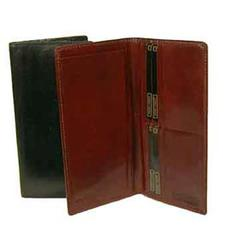 Hand Stained Italian Leather, Breast Pocket Secretary Wallet with Checkbook Accomodation