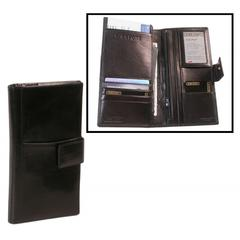 Bond Street Tuscany Leather Passport and Airline Case with Tab Closure - Travel Wallet