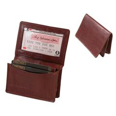 Glazed Cow Hide Leather Business Card Wallet with Gusset in Cognac