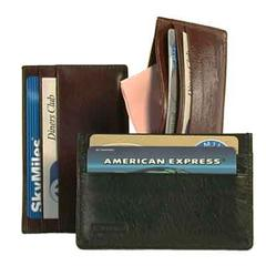 Bond Street, Glazed Cow Hide Leather Credit Business Card Holder in Cognac