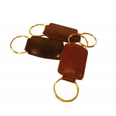 Crocket Glazed Cow Hide Leather Key Fob in Mahogany