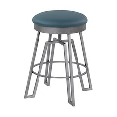 """Empire 30"""" Bar Height Metal Swivel Barstool in Williamsburg Blue Faux Leather and Silver Bisque Finish"""