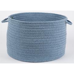 """Rhody Rug Solid Blue Bonnet Wool 18"""" x 12"""" Basket"""