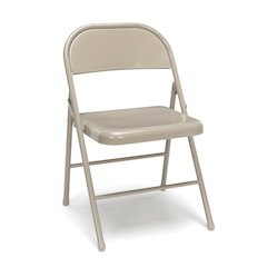 4-Pack Metal Folding Chairs, Antique/ Linen