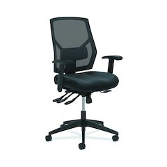 Crio High-Back Task Chair | Mesh Back | Adjustable Arms | Asynchronous Control | Adjustable Lumbar | Black Leather