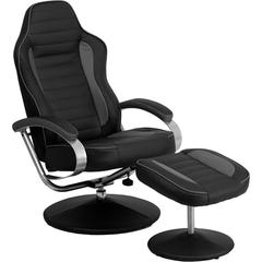 Racing Style Black and Gray Vinyl Recliner and Ottoman