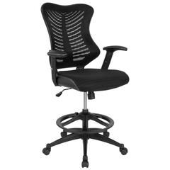 High Back Designer Black Mesh Drafting Chair with Leather Sides and Adjustable Arms
