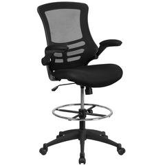 Mid-Back Black Mesh Ergonomic Drafting Chair with Adjustable Foot Ring and Flip-Up Arms