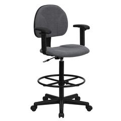 Gray Fabric Drafting Chair with Adjustable Arms (Cylinders: 22.5''-27''H or 26''-30.5''H)