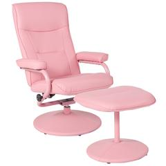 Contemporary Multi-Position Recliner and Ottoman in Pink Vinyl