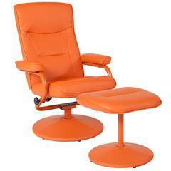 Contemporary Multi-Position Recliner and Ottoman in Orange Vinyl