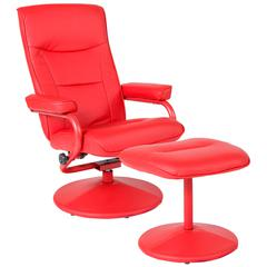 Contemporary Multi-Position Recliner and Ottoman in Red Vinyl