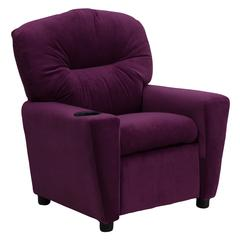 Contemporary Purple Microfiber Kids Recliner with Cup Holder