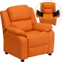 Deluxe Padded Contemporary Orange Vinyl Kids Recliner with Storage Arms