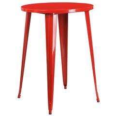 30'' Round Red Metal Indoor-Outdoor Bar Height Table