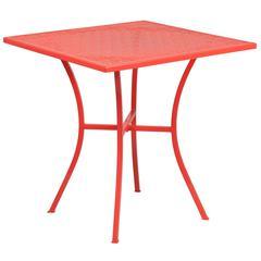 28'' Square Coral Indoor-Outdoor Steel Patio Table