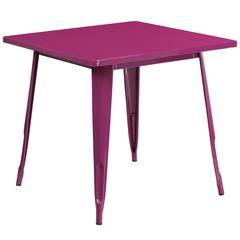 31.5'' Square Purple Metal Indoor-Outdoor Table