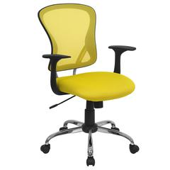 Mid-Back Yellow Mesh Swivel Task Office Chair with Chrome Base and Arms