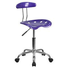 Vibrant Violet and Chrome Swivel Task Office Chair with Tractor Seat