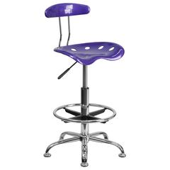Vibrant Violet and Chrome Drafting Stool with Tractor Seat