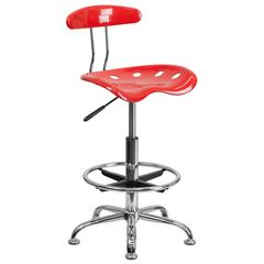 Vibrant Cherry Tomato and Chrome Drafting Stool with Tractor Seat