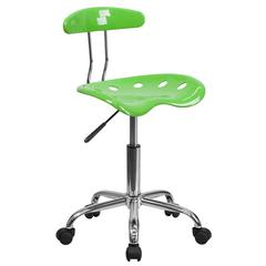 Vibrant Apple Green and Chrome Swivel Task Office Chair with Tractor Seat