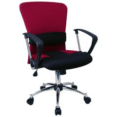 Mid-Back Burgundy Mesh Swivel Task Office Chair with Adjustable Lumbar Support and Arms