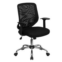 Mid-Back Black Mesh Tapered Back Swivel Task Office Chair with Chrome Base and T-Arms