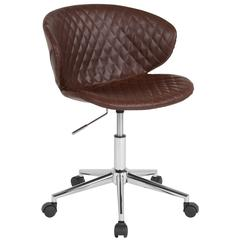 Home and Office Diamond Patterned Upholstered Low Back Chair in Brown Vinyl