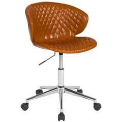 Home and Office Diamond Patterned Upholstered Low Back Chair in Saddle Vinyl