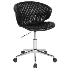 Home and Office Diamond Patterned Upholstered Low Back Chair in Black Vinyl