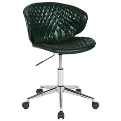 Home and Office Diamond Patterned Upholstered Low Back Chair in Green Vinyl